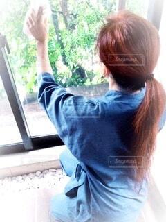 窓拭きをしている女性の背中の写真・画像素材[4794033]