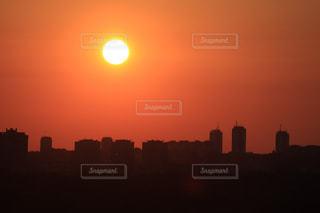 風景,空,建物,夕日,東京,太陽,夕焼け,オレンジ,夕陽,フィルム,フィルム写真,フィルムフォト