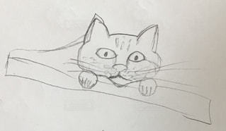猫,動物,アート,ねこ,ペン,手書き,紙,おえかき,スケッチ,図面,おうち時間,図