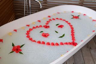 モルディブ,植物,赤,ハイビスカス,アート,お花,ハート,お風呂,泡風呂,ウェディング,お風呂アート