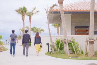 女性,男性,庭,屋外,青空,散歩,沖縄,女の子,背中,人,ホテル,レジャー,男の子,友達,お散歩,ライフスタイル,おでかけ
