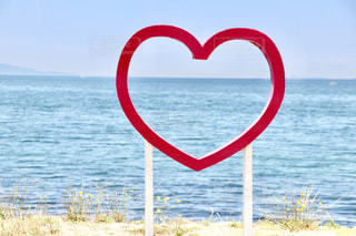 海,絶景,ピンク,かわいい,ハート,オブジェ,淡路島,マーク,写真スポット,インスタ映え