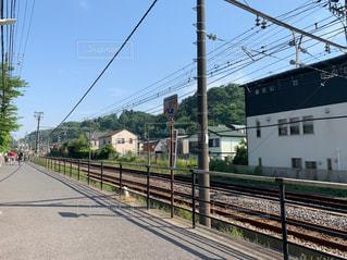 空,晴れ,散歩,線路,鎌倉,草木,お出かけ