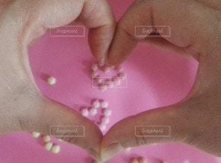ピンク,手,ハート,ハンドメイド,ビーズ