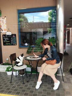 ネコとおしゃべりの写真・画像素材[2283183]
