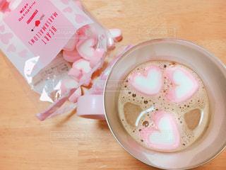 コーヒー,ピンク,ハート,カフェオレ,ピンクのハート,ピンクハート,ハートのマシュマロ,ハートマシュマロ