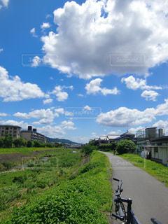 自転車,雲,晴れ,青空,散歩,川辺,川,河川敷,マウンテンバイク,サイクリング,お散歩