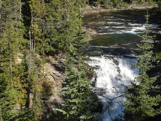 川,アメリカ,山,滝,国立公園,ロッキー山脈