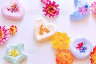 自然,カラフル,お花,ハート,ハンドメイド,手作り,ハーブ,4歳,コスメ,石鹸,ハートの形,休日の一コマ