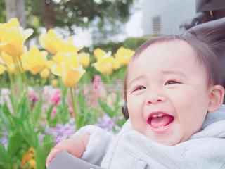 花,晴れ,笑顔,赤ちゃん,お散歩