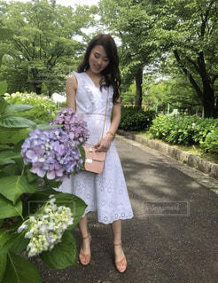ワンピース,紫陽花,お散歩
