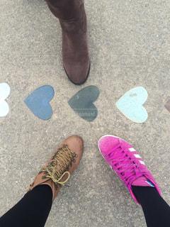 靴,神社,ハート,地面,お出かけ,履物,恋の道