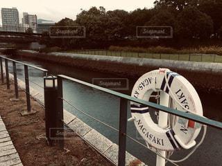 屋外,川,水面,フィルム,散歩道,浮き輪,長崎,景観,フィルム写真,フィルム風,フィルムフォト