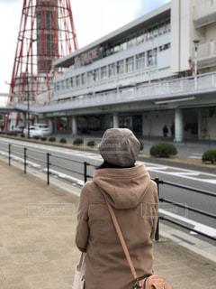冬,後ろ姿,タワー,旅,寒い,神戸,神戸ポートタワー