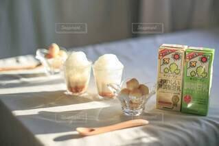 ホットソイラテきな粉&豆乳白玉団子♡の写真・画像素材[3818484]
