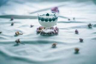 爽やかブルーベリーゼリーのせのレアチーズケーキ♡の写真・画像素材[3882559]