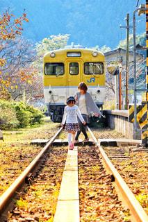 線路をすすむ親子の写真・画像素材[2374151]