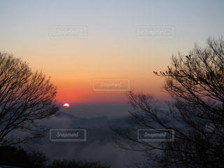 冬の朝の日の出の写真・画像素材[2875874]