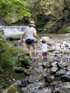 川遊びをしている親子の写真・画像素材[2363969]