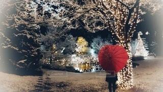 ハートの赤い傘とクリスマス飾りの写真・画像素材[4002667]