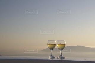 自然,屋外,夕暮れ,ワイン,グラス,乾杯,ドリンク,サントリーニ