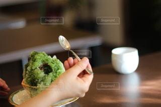 抹茶小豆かき氷の写真・画像素材[3641633]