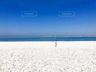 砂浜の上に立つ子供の写真・画像素材[2337348]