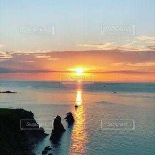 京都府 屏風岩の夕陽の写真・画像素材[3573322]