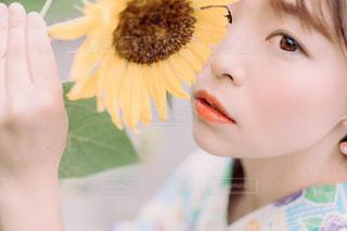向日葵×浴衣の写真・画像素材[3603735]