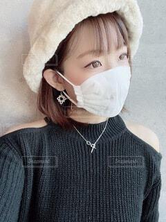 冬のマスクフォトの写真・画像素材[3976457]