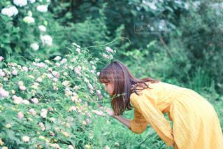 森の隣に立っている人の写真・画像素材[3142314]