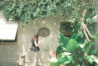 庭に立っている人の写真・画像素材[3436617]