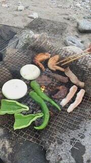 食べ物,夏,秋,食事,川,フード,野菜,肉,石,BBQ,焼き肉,飲食,川ら