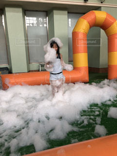 プール,水着,楽しい,笑顔,泡,モコモコ,バブル,もこもこ,泡まみれ