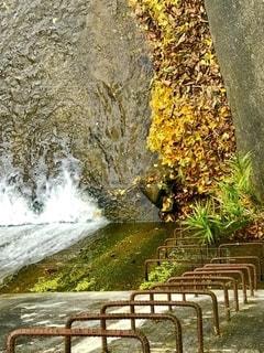 滝の隣に座っている木製のベンチの写真・画像素材[2775267]