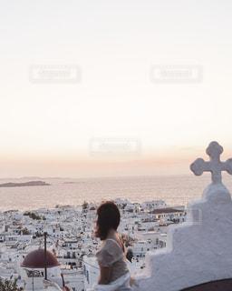 ミコノス島の夕焼けの写真・画像素材[2596427]
