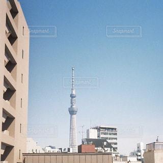 空,建物,屋外,スカイツリー,タワー,都会,高層ビル,フィルム,フィルム写真,フィルムフォト