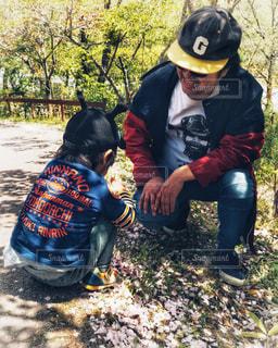 桜の花の下で遊ぶ親子の写真・画像素材[2428030]
