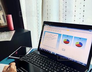机の上に座っている開いているラップトップコンピュータのスクリーンショットの写真・画像素材[2885598]