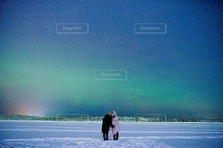雪とオーロラの写真・画像素材[4138647]