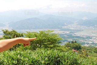 山頂から行く先を指差しの写真・画像素材[2964193]