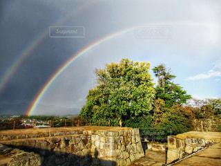 城跡と虹の写真・画像素材[2553848]