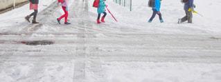 雪に覆われた通学路を歩いている小学生のグループの写真・画像素材[2811629]