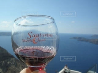 海,青空,景色,ワイン,グラス,サントリーニ島,ギリシャ,乾杯,ドリンク,サントリーニ,赤ワイン,新婚旅行