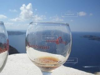 海,青空,島,景色,グラス,サントリーニ島,ギリシャ,乾杯,ドリンク,サントリーニ,白ワイン,新婚旅行