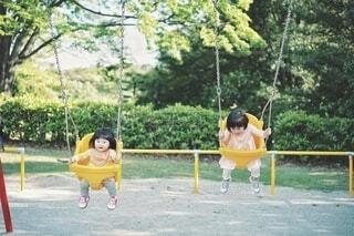 ブランコで遊ぶ姉妹の写真・画像素材[4448771]