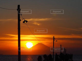 富士山と夕焼けの写真・画像素材[2858169]