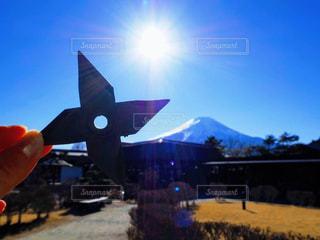 手裏剣と富士山の写真・画像素材[2859169]