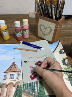アクリル絵の具で描がく風景画の写真・画像素材[2807238]