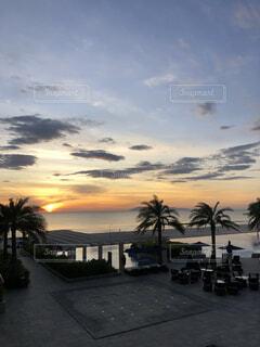 風景,海,空,屋外,朝日,ビーチ,雲,夕暮れ,海岸,正月,ヤシの木,お正月,日の出,新年,初日の出